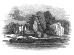 An 18th-century engraving of Ankerwycke from the Thames.