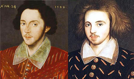 Comparison between Grafton (candidate for portrait of Shakespeare) and Christopher Marlowe