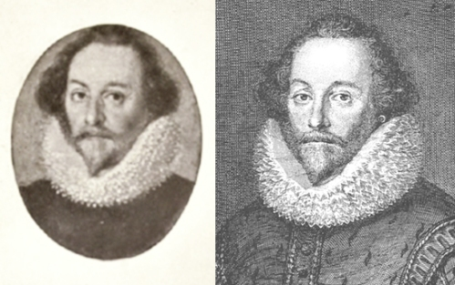 Harley miniature c.1714 compared with Vertue's Shakespeare with ruff, 1721.