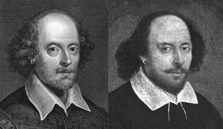 Comparison of Vertue engraving to Chandos portrait. Beards on both lightly retouched to show the jawlines.
