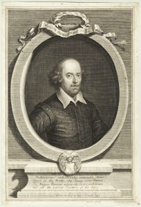 Vertue's 1719 portrait of Shakespeare, from a series of twelve Heads of Poets.