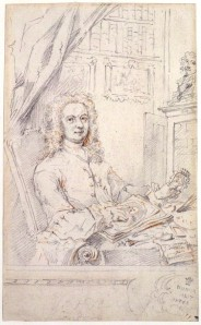 Vertue's self portrait pointing to an engraving and holding its source, a miniature.
