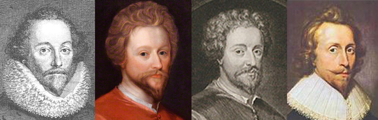 L-R: Vertue's Shakespeare with ruff; Fletcher portrait; Vertue's copy of Fletcher portrait; Fletcher in later years.