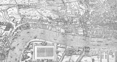 This bit of the Agas map of 1560 shows how close the little school at Blackfriars was to the Inns of Court and the Palace of Westminster (Whitehall) where Parliament met then.